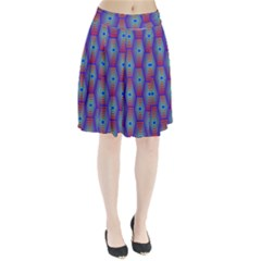 Red Blue Bee Hive Pattern Pleated Skirt