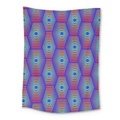 Red Blue Bee Hive Pattern Medium Tapestry