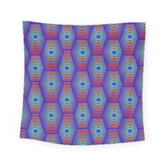 Red Blue Bee Hive Pattern Square Tapestry (small)