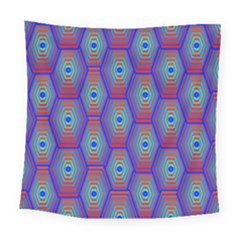 Red Blue Bee Hive Pattern Square Tapestry (large)