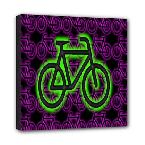 Bike Graphic Neon Colors Pink Purple Green Bicycle Light Mini Canvas 8  x 8