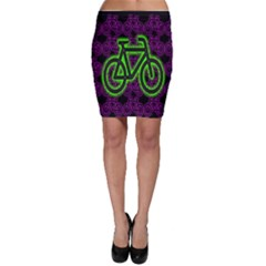 Bike Graphic Neon Colors Pink Purple Green Bicycle Light Bodycon Skirt