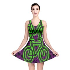 Bike Graphic Neon Colors Pink Purple Green Bicycle Light Reversible Skater Dress