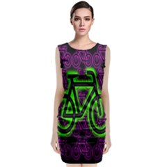 Bike Graphic Neon Colors Pink Purple Green Bicycle Light Classic Sleeveless Midi Dress