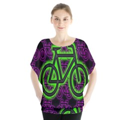 Bike Graphic Neon Colors Pink Purple Green Bicycle Light Blouse