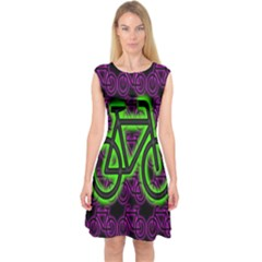 Bike Graphic Neon Colors Pink Purple Green Bicycle Light Capsleeve Midi Dress