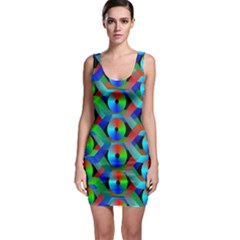 Bee Hive Color Disks Sleeveless Bodycon Dress