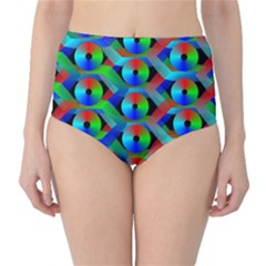Bee Hive Color Disks High Waist Bikini Bottoms