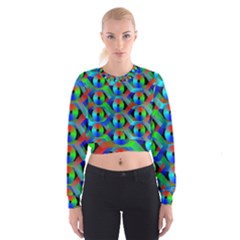 Bee Hive Color Disks Women s Cropped Sweatshirt