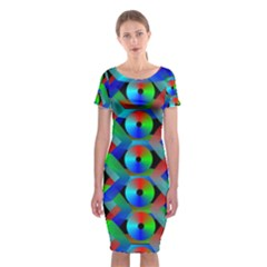 Bee Hive Color Disks Classic Short Sleeve Midi Dress