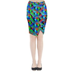 Bee Hive Color Disks Midi Wrap Pencil Skirt