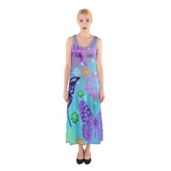 Butterfly Vector Background Sleeveless Maxi Dress