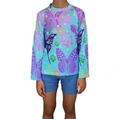 Butterfly Vector Background Kids  Long Sleeve Swimwear