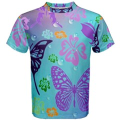 Butterfly Vector Background Men s Cotton Tee