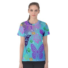 Butterfly Vector Background Women s Cotton Tee