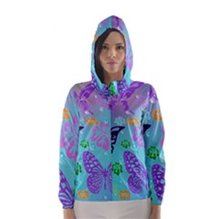 Butterfly Vector Background Hooded Wind Breaker (Women)