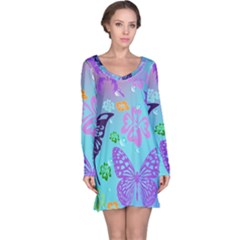 Butterfly Vector Background Long Sleeve Nightdress