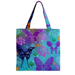 Butterfly Vector Background Zipper Grocery Tote Bag