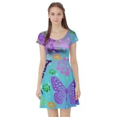 Butterfly Vector Background Short Sleeve Skater Dress