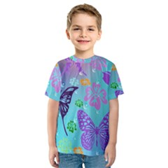 Butterfly Vector Background Kids  Sport Mesh Tee