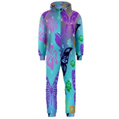 Butterfly Vector Background Hooded Jumpsuit (Men)