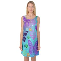 Butterfly Vector Background Sleeveless Satin Nightdress