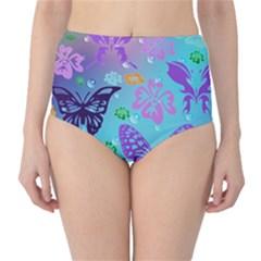 Butterfly Vector Background High Waist Bikini Bottoms