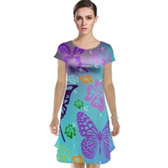 Butterfly Vector Background Cap Sleeve Nightdress