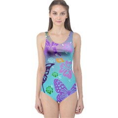 Butterfly Vector Background One Piece Swimsuit