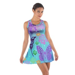 Butterfly Vector Background Cotton Racerback Dress