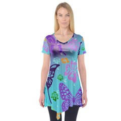 Butterfly Vector Background Short Sleeve Tunic