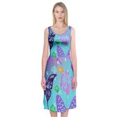 Butterfly Vector Background Midi Sleeveless Dress
