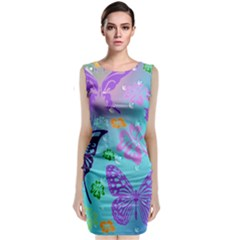 Butterfly Vector Background Classic Sleeveless Midi Dress
