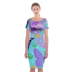 Butterfly Vector Background Classic Short Sleeve Midi Dress