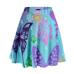 Butterfly Vector Background High Waist Skirt