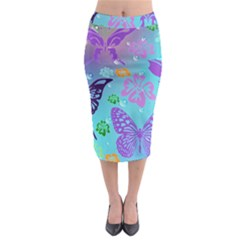 Butterfly Vector Background Midi Pencil Skirt