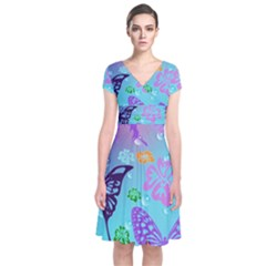 Butterfly Vector Background Short Sleeve Front Wrap Dress