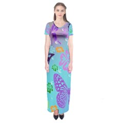 Butterfly Vector Background Short Sleeve Maxi Dress