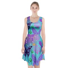 Butterfly Vector Background Racerback Midi Dress