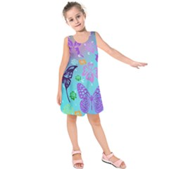 Butterfly Vector Background Kids  Sleeveless Dress