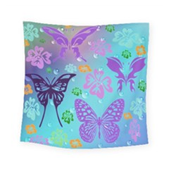 Butterfly Vector Background Square Tapestry (small)
