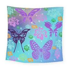 Butterfly Vector Background Square Tapestry (large)