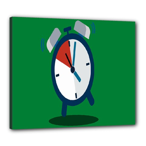 Alarm Clock Weker Time Red Blue Green Canvas 24  X 20