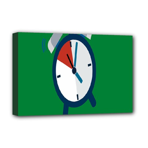 Alarm Clock Weker Time Red Blue Green Deluxe Canvas 18  x 12