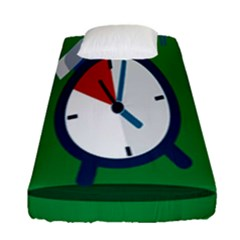 Alarm Clock Weker Time Red Blue Green Fitted Sheet (single Size)
