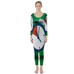 Alarm Clock Weker Time Red Blue Green Long Sleeve Catsuit