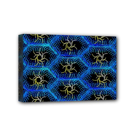 Blue Bee Hive Pattern Mini Canvas 6  X 4