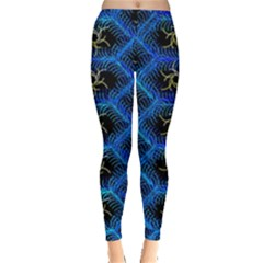 Blue Bee Hive Pattern Leggings
