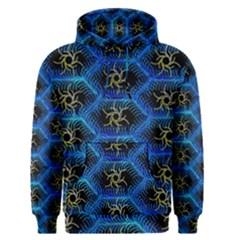 Blue Bee Hive Pattern Men s Pullover Hoodie