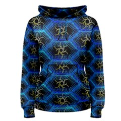 Blue Bee Hive Pattern Women s Pullover Hoodie